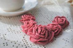 {jrs: Graduated Felt Flowers} ~ Fabric Flower Bib Necklace handmade recycled dusty rose by stoastn, $65.00