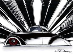 """""""36 Ford"""" done entirely freehand with Sharpies. Limited Edition prints available here:  www.PinstripeChris.com/CustomCarStore"""