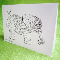 https://www.etsy.com/listing/100005639/elephant-word-art-cards-set-of-4  Play on Words (words in pictures). words in animals. meanings in words.
