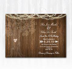 Rustic Tree Wedding Invitation DIY PRINTABLE Digital File or Print (extra) Wood Wedding Invitation String Lights Wedding Invitation