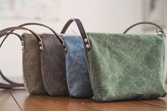 Waxed Canvas Crossbody day bag leather strap