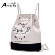 a0090189b94d 2017 New Fashion Women Backpacks Girls Letter Printing Canvas Drawstring School  Bag Backpacks Rucksack Softback Leisure Backpack - Fatekey