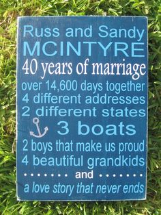 I want to do one of these on each of our major anniversaries - 10, 25, 50 :)