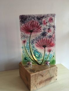Fused Glass Art - Flora & Fauna Gift - Dandelion Wishes - Mystic Spring Glass Artwork, Glass Wall Art, Sea Glass Art, Stained Glass Art, Glass Vase, L'art Du Vitrail, Glass Art Pictures, Broken Glass Art, Glass Art Design