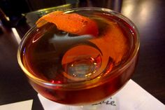 Sadie - Oaxacan Through Italy: Del Maguey Pechuga Mezcal, Cocchi Vermouth di Torino, Cynar, garnished with a singed orange peel. #cocktails