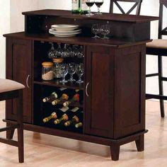 Coaster Mix & Match 100218 47 Inch Bar Unit with 2 Cabinet Doors, Wine Rack, Stemware Rack, Tapered Legs and Silver Handles in Cappuccino Finish Coaster Fine Furniture, Home Bar Furniture, Furniture Ideas, Furniture Outlet, Bathroom Furniture, Discount Furniture, Online Furniture, Outdoor Furniture, Kitchen Furniture