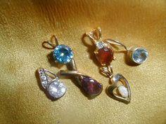 Vintage Pendant Lot 14K Gold FI Sterling Gemstones Opal Heart Zircon Estate