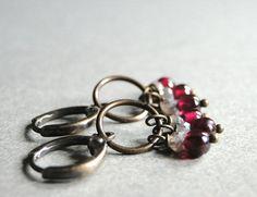 Jewelry Earrings / Gemstone Earrings / Garnet Moonstone