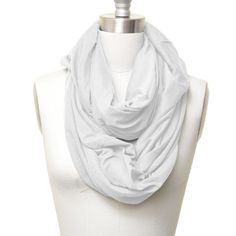 Solid Color Soft Jersey Eternity Scarf White Color by SpinningDaisy. $12.99. Trendy loop style scarf has silky feel and is very warm. You can be creative with loop style scarf and this will be your must item for this winter.
