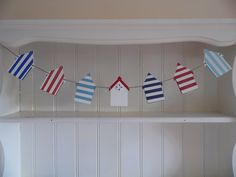 Classic hand painted red, white and blue beach hut bunting. Now resident in a bathroom in land locked Shropshire. Bunting Banner, Garlands, Bespoke, Seaside, Nautical, Hand Painted, Bathroom, Holiday Decor, Beach