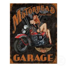 "Vintage Retro Metal Tin Sign Poster Plaque Wall Home Decor ""Garage , Motor Oil"" Motorcycle Posters, Motorcycle Art, Bike Art, Motorcycle Garage, Pin Up Vintage, Vintage Tin Signs, Vintage Art, Vintage Style, Vintage Decor"
