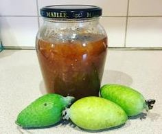 Feijoa Jam with Vanilla, Ginger and Cardamon. Jam Recipes, Recipies, Cored Apple, 5 Recipe, Chutney, Preserves, Vegan Vegetarian, Pickles, Cucumber