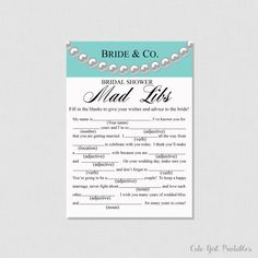 Bride & Co Bridal Shower Mad Libs Game - Printable Mad Libs Bridal Shower Game - Robin Egg Blue Bride and Co D�cor - 0007B