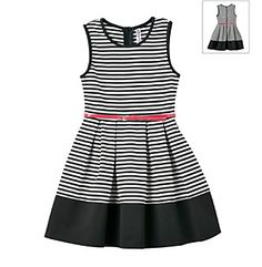She will feel beautiful in this striped skater dress from Beautees which features a belted waist design.