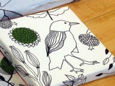 """Design Your Life blog - wrap canvases with fabric and mod-podge and let children paint them (love the Ikea """"cecelia"""" bird fabric!)"""