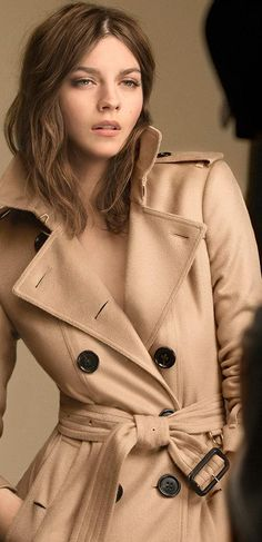 Amber wearing Burberry Cashmere foundation and a cashmere trench coat on the campaign set