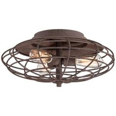 "Industrial Cage Dark Rust 7 1/2"" High Ceiling Light Fixture"