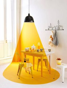 Creative wall painting ideas - Decoration For Home Creative Wall Painting, Creative Walls, Vitrine Design, Wall Design, House Design, Yellow Table, Yellow Interior, Room Lights, Sweet Home