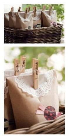 bolsas de papel en canasta