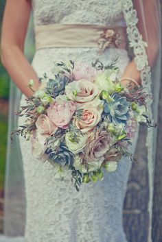 big bunch of blush roses, peonies, greens and succulents