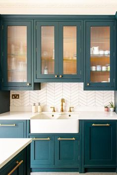 Glass Kitchen Cabinets, Kitchen Cabinet Colors, Kitchen Colors, Green Kitchen Cupboards, Coloured Kitchen Cabinets, Kitchen Color Trends, Kitchen Cupboard Doors, Dark Green Kitchen, Funky Kitchen