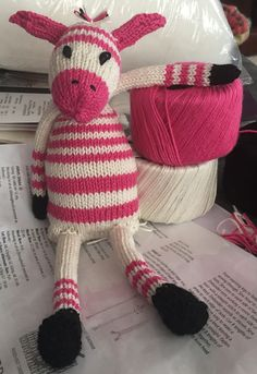 Free Knitting Pattern for Zany Zebras - Height (approximately) 18cm, (7in) Sitting down in DK. Designed by Sue Jobson for Sirdar. Pictured project by mrsdr