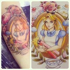my Alice by @badtastebetsy when she was freshly inked at the Sydney Tattoo Convention a couple of years back (very swollen leg!) - @thetinylittlegirl- #webstagram
