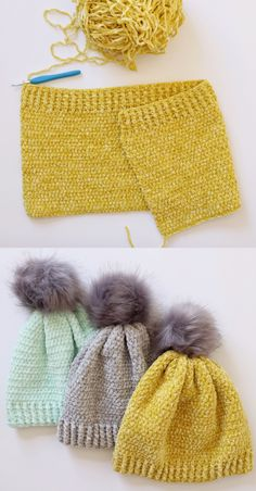 Free Pattern - Crochet Velvet Winter Hat These velvet winter hats a. : Free Pattern – Crochet Velvet Winter Hat These velvet winter hats are my favorite hats I've ever made! If you've ever felt velvet yarn then you know… Crochet Crafts, Easy Crochet, Crochet Baby, Crochet Projects, Free Crochet, Knit Crochet, Diy Projects, Bonnet Crochet, Crotchet