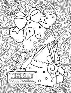 coloring page puppy shopping flower hat boutique dog clothes adult