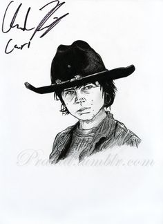 "HAND AUTOGRAPHED Portrait--Chandler Riggs ""Carl Grimes"" from The Walking Dead"