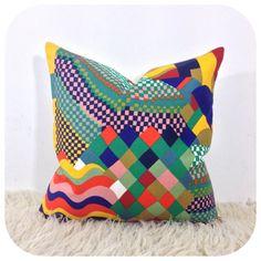 "1970s Vintage Liberty Bauhaus Fabric Cushion Cover, Retro Pillow Cover 16"" x 16"""