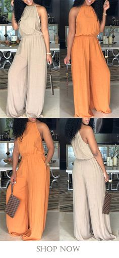 plus size halter sleeveless solid color pocket jumpsuit is a must have in your wardrobe! Wear it and go party! Curvy Girl Fashion, Cute Fashion, Plus Size Fashion, Fashion Looks, Fashion Outfits, Womens Fashion, Fashion Fashion, Night Outfits, Cute Outfits