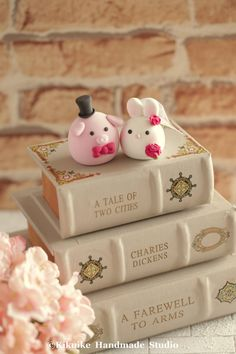 Rabbit ,Bunny and pig   wedding cake topper