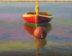 Ruby Glow, Sailboat Seascape Pastel Painting by Poucher -- Nancy Poucher