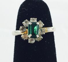 Vintage Silver Tone Emerald Green Adjustable Cocktail Ring Featuring Rhinestone Flanked Design by ClevelandFinds on Etsy