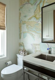 bathroom with nautical chart wallpaper | Anne Michaelsen Design