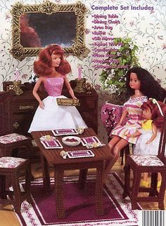 Fashion Doll Formal Dining Room Plastic Canvas Pattern  HTF 30 Days To Shop/Pay