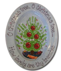 Hand print Christmas tree. Great for teacher gift, parents or grand parents.