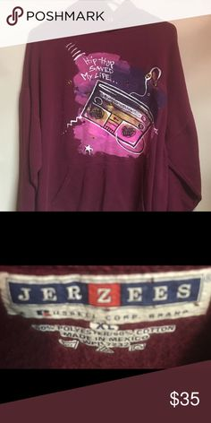 Supercool Custom Made  XL Hip Hop Hoodie. Really cool custom made Hip Hop XL Hoodie. Only flaw is that it's missing the drawstring. A must have for any Hipster. This sweatshirt is a Mans XL. Jerzees Tops Sweatshirts & Hoodies