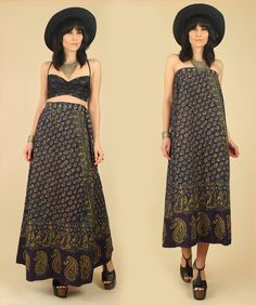 fullxfull indian skirts | ViNtAgE 70's India Cotton Maxi Wrap Skirt // by hellhoundvintage