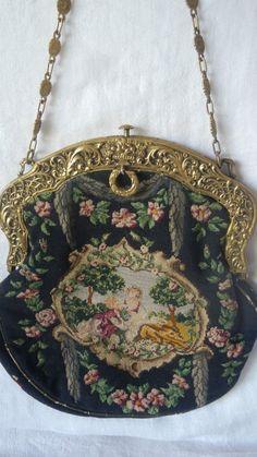 Antique Petit Point Romantic Purse Gold Frame Handle Needlepoint | eBay