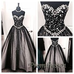 Sparkly black satin sequins prom dress, poofy ball gown, prom dress 2016