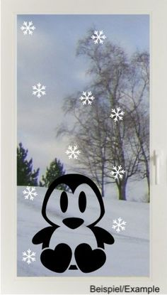 Pinguin + Flocken - Fenster-Tattoo Set von DOON Germany auf DaWanda.com