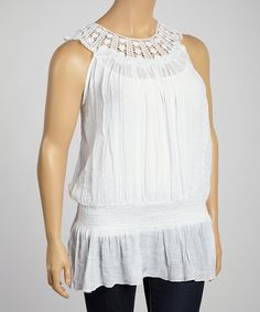 Another great find on #zulily! Simply Irresistible White Crochet-Yoke Tank - Plus by Simply Irresistible #zulilyfinds