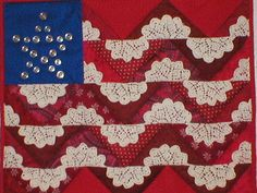 Mom - flag quilt with doilies by Mellicious, via Flickr