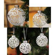 Christmas Decoration Inspiration | White Christmas Baubles Small White Christmas Tree, White Christmas Tree Decorations, White Christmas Ornaments, Holiday Decor, Ornament Hooks, Ball Ornaments, Holiday Parties, Inspiration, Amazon