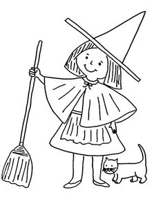 little witch coloring pages with cat - Witch Coloring Page