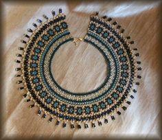 Czech beads necklace Ukrainian necklace by BeadedJewelryVirunia Seed Bead Necklace, Black Necklace, Wire Jewelry, Beaded Jewelry, Beaded Necklaces, Etsy Necklaces, Crystal Pendant, Crystal Necklace, Magnetic Necklace