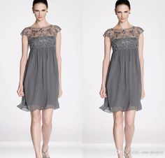 Sexy Dresses For Women 2015 New Sexy Cocktail Dresses Crew Neck Cap Sleeve Illusion Sheer Crystal Beading Short Mini Grey Chiffon Empire Waist Formal Prom Gowns Cocktail Dress Canada From One Stopos, $90.48| Dhgate.Com