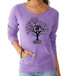 Ohm Namaste Tree Eco-Fleece Slouchy Wideneck Off the Shoulder Sweatshirt, yoga clothes, workout top, boho style, bohemian clothing
